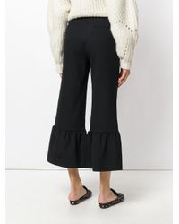 Erika Cavallini Semi Couture - Black Peplum Hem Cropped Trousers - Lyst