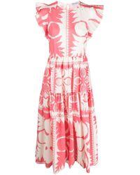RED Valentino Pink Graphic-print Midi Dress