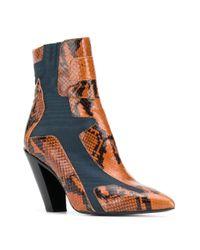 A.F.Vandevorst Brown Snakeskin Effect Ankle Boots