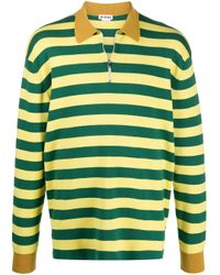 メンズ Sunnei ストライプ ロングスリーブ ポロシャツ Green