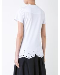 Carven White Eyelet Hem T-shirt