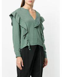 Étoile Isabel Marant Green V-neck Ruffle Blouse