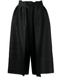 Pleats Please Issey Miyake Black Cropped Wide-leg Trousers