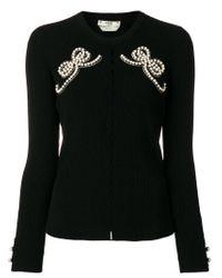 Fendi - Black Ribbed Embellished Top - Lyst