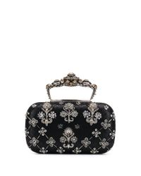 Alexander McQueen Black Embroidered Clutch Bag