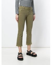 7 For All Mankind Green Cropped Slim Fit Jeans