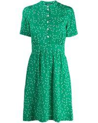 Vestido camisero con estampado de corazones A.P.C. de color Green