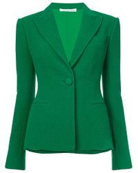 Oscar de la Renta Green Fitted Suit Blazer