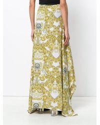 Versace Yellow Baroque Pleated Maxi Skirt