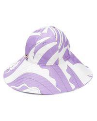 Sombrero de ala ancha con diseño colour block Emilio Pucci de color White