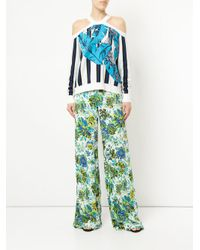 MSGM Green Floral Print Wide-leg Trousers