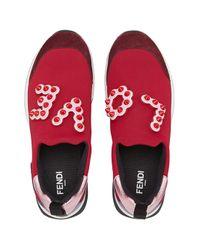Fendi Red Slip-on Sneakers