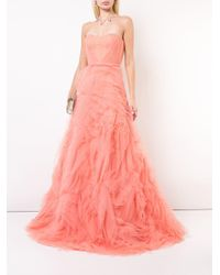 Marchesa notte チュールレイヤード ドレス Pink
