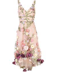 Marchesa notte フローラル ノースリーブドレス Pink