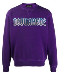 DSquared² Sweater Met Logoprint in het Purple voor heren