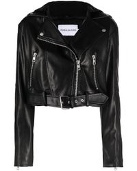 Calvin Klein クロップド ライダースジャケット Black