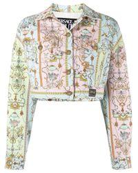 Versace Jeans Blue Baroque-pattern Cropped Denim Jacket