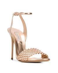 Sandales à bout ouvert Casadei en coloris Metallic