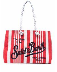 Mc2 Saint Barth Red Gestreifter Shopper mit Logo