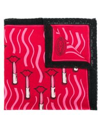 Valentino Red Lipstick Print Scarf