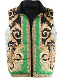 Versace Green Barocco Puffer Vest for men