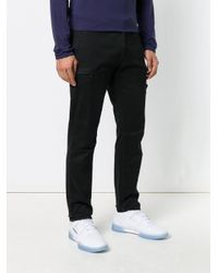Stone Island Black Ruched Slim Trousers for men