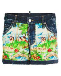 DSquared² Multicolor Hawaiian Print Denim Shorts