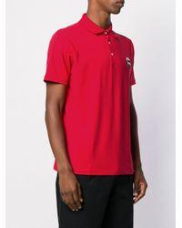メンズ Karl Lagerfeld Ikonik パッチ ポロシャツ Red
