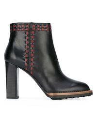 Tod's - Natural Stitched Leather Ankle Boots - Lyst