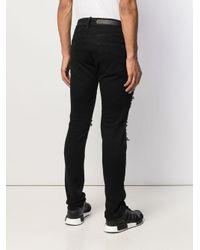 Philipp Plein Black Super Straight Cut Destroyed Jeans for men