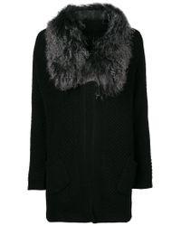 Hemisphere - Black Fur Trim Cardigan - Lyst