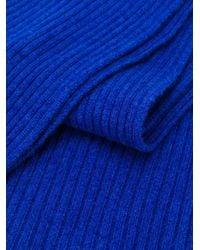 Bufanda corta de canalé N.Peal Cashmere de color Blue