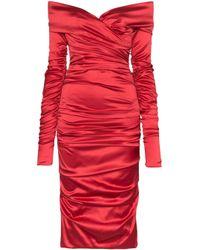 Dolce & Gabbana シャーリング サテンドレス Red