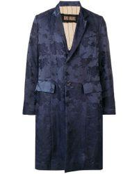 Uma Wang Blue Floral Single-breasted Coat for men