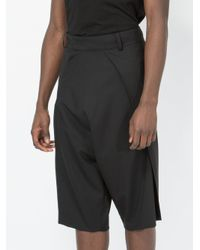 Moohong Black Dropped-crotch Tailored Shorts for men