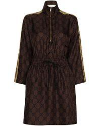 Robe courte zippée Gucci en coloris Brown