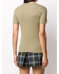 Maison Kitsuné Green Logo Embroidered Slim Fit T-shirt