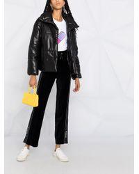 Pinko Black Velvet Side Stripe Track Trousers