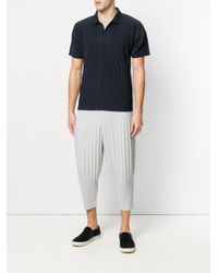 Homme Plissé Issey Miyake Blue Ribbed Effect Polo Shirt for men