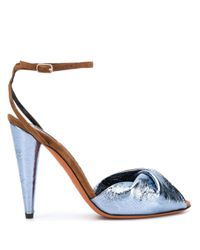 Missoni Blue Two-tone Leather Sandals