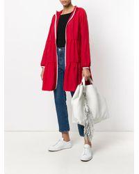 P.A.R.O.S.H. White Fringed Oversized Shopping Bag