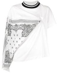 T-shirt con dettaglio foulard di Sacai in White