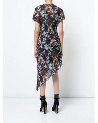Anna Sui Blue Floral Print Asymmetric Dress