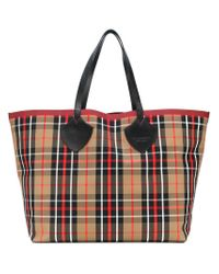 Burberry - Multicolor Xl Checked Tote - Lyst