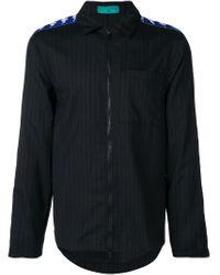 Paura Gestreifte Hemdjacke mit Logo-Streifen in Black für Herren