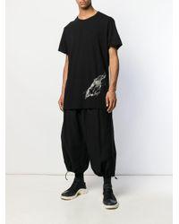 メンズ Yohji Yamamoto スカルプリント Tシャツ Black