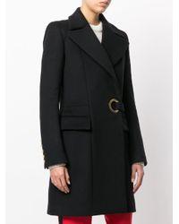 Balmain Black Eyelet Belted Coat
