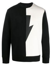 メンズ Neil Barrett Thunder バイカラー スウェットシャツ Black