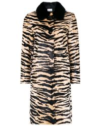RED Valentino Black Animal Print Fitted Coat