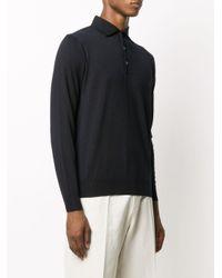 メンズ Lardini ロングスリーブ ニットポロシャツ Black